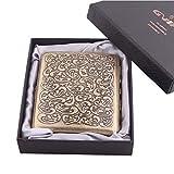 dfhdrtj - Caja de cigarrillos con diseño de metal retro, puede contener 20 cigarrillos. Caja de cigarrillos de acero inoxidable niquelado, resistente a la humedad y antisuelta. (dorado2)