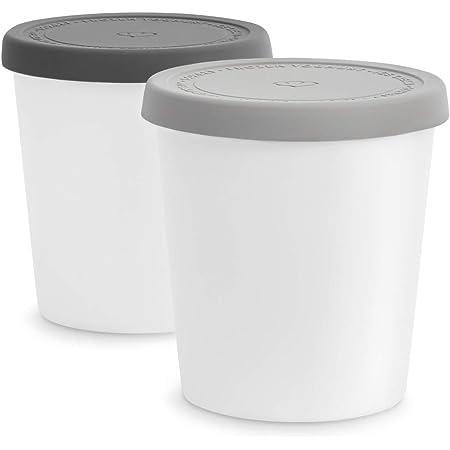 Bacs à glace avec couvercle 1L, 2 pièces, Récipients isotherme pour creme glacée, sorbet, yogourt, Moules à glace sans BPA, Boîtes de stockage