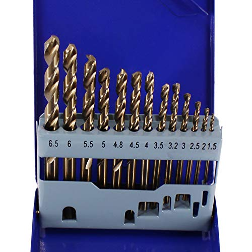 HFS (R) Cobalt Drill Bit Set- 13Pcs M35 High Speed Steel Twist Jobber Length for Hardened Metal, Stainless Steel, Cast Iron and Wood Plastic with Metal Indexed Storage Case, 1.5mm-6.5mm