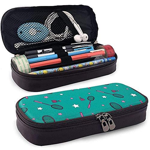 Estuche para bolígrafo de cuero Bádminton y raquetas Papelería escolar para oficina Estuche para bolígrafo Porta bolígrafo con cremallera duradera