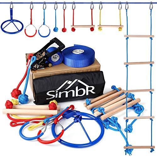 SIMBR Ninja Warrior Obstacle Course for Kids, 50ft Ninja Slackline, 8 Accessories for Kids Climbing, Hanging, Have Fun in Backyard, Train a Strong American Ninja Warrior