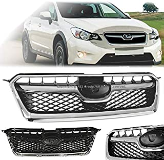 Brand] EAX Compatible with 13 14 15 Subaru XV/XV Crosstrek Replacement for Front Upper Grill Grille Chrome 2015 2014 2013 Glossy Radiator Grille Bumper Hood Grill