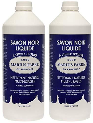 Juego de 2 botellas de 1 litro de aceite líquido de jabón negro de Marius Fabre, limpiador multiusos natural