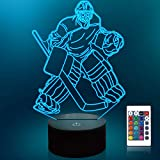 Lampeez Kids 3D Ice Hockey Player Night Light Optical Illusion Lamp with 16 Colors Remote Control Changing Birthday Gift Idea for Boys and Girls