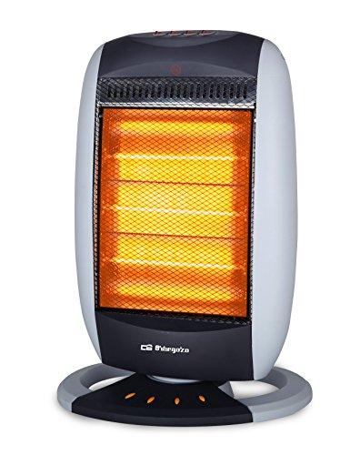Orbegozo BP 5005 Calefactor Halógeno, Oscilante, 3 Niveles de Calor, Asa de Transporte, 1200 W, Negro/Burdeos