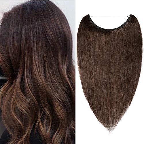 Haarteile Echthaar Extensions mit Unsichtbarem Draht Glatt Glänzig Weich Haarverlängerung Keine Clips Hochwertig Human Hair 50cm 70 Gramm Mittelbraun