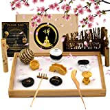 Zen Garden for Desk 3X Sand and 12+ Accessories, Large Japanese Decorative Tray (11x7.5in) for Meditation,Office,Table, Includes Rake and Incense Kit for Relaxation, Chinese Words Rocks Collection