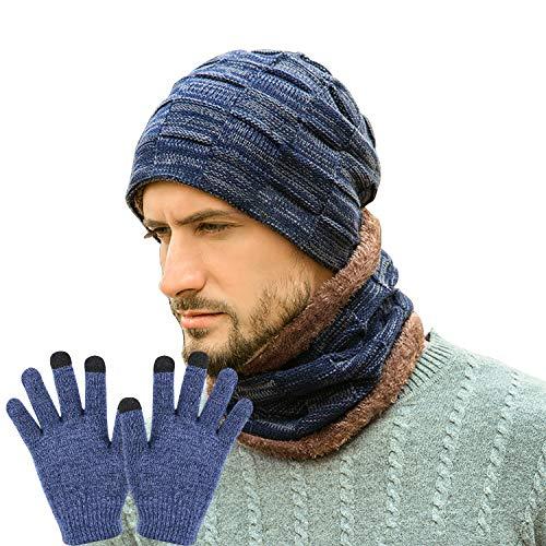 Mützen-Schal-Sets für Herren mit Touchscreen-Handschuhen, Winter Warm Stricken Samt Liner Hut Kreis Schal Wärmen Geschenk für Unisex