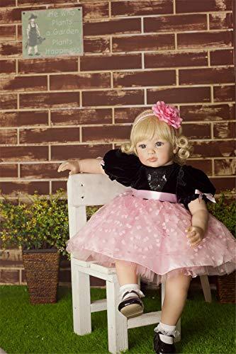 Zero Pam 60CM Reborn Toddler Dolls 24 Inch Reborn Child Dolls Golden Hair Girl Caucasian Child Dolls Handmade Realistic Child Dolls for Girl Fashion Reborn Baby Dolls Best Children Gifts