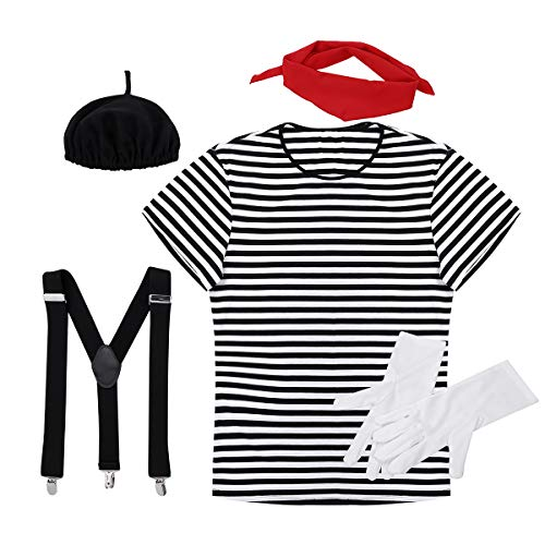 MSemis Halloween Herren Damen Mime Kostüm Set 6-teilig, Clown Erwachsenen Kostüm lustiges Harlekin Zirkus Kostüm Karneval Party Outfits Schwarz Herren M