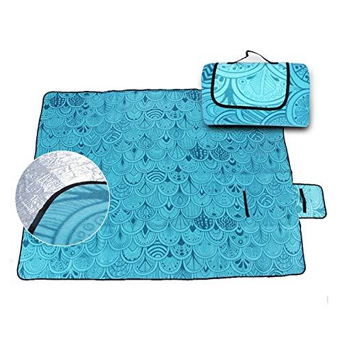 JSJJAKM Manta de pícnic de 2 x 1,5 m, impermeable, plegable, para acampar, playa, a prueba de humedad, manta portátil para acampar, senderismo, playa, Padd (color: azul, tamaño: 200 x 150 cm)