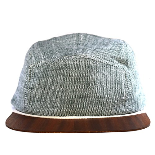 Green Cap linen with unique wooden brim - Made in Germany - Beach hat - Lightweight & comfortable - Unisex - One size fits all Snapback | Lou-i 5 Panel Cap