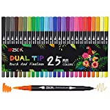 Dual Brush Colored Pens Art Markers, ZSCM 25 Colors Fine&Brush Tip Coloring Markers for Kids Adult Coloring Books Mothers Day Drawing Crafts Bullet Journal Planner Calendar Art Project School Supplies