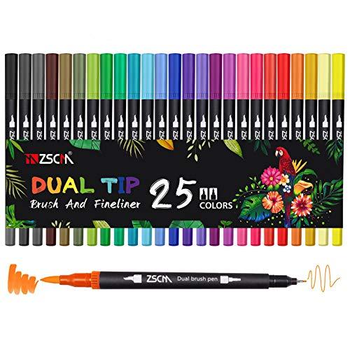 Pennarelli a doppio pennello, ZSCM 25 colori Pennarello fine Pennarelli da colorare per bambini Libri da colorare per adulti Disegno Bullet Journal Planner Progetti artistici Materiale scolastico