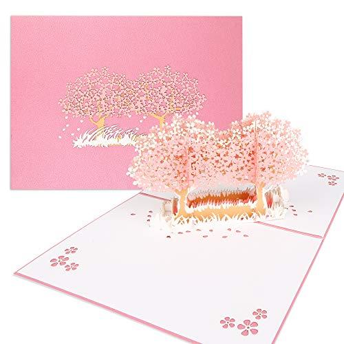 3D Karte, Pop Up Kirschblüte Hochzeitskarte für Meisten Anlässe, Romantik Faltkarte, Grußkarte Valentinstag Karte, Geburtstagskarte für Sie, Glückwunschkarten mit Umschlag