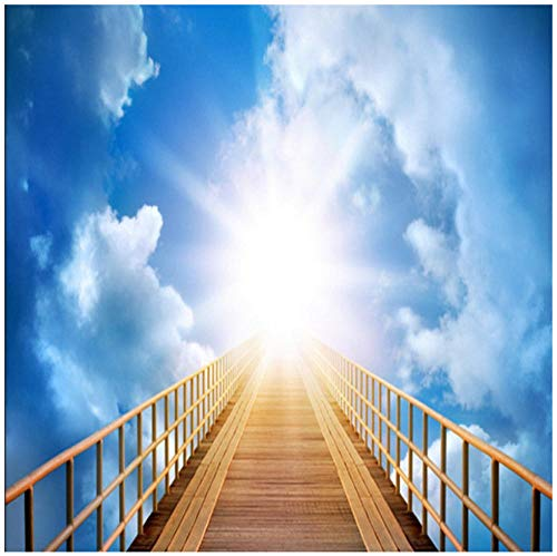 Hd Sky Houten Ladder Blauw Hemel Wit Wolken landschapHome Decoratie Vloerbehang muurschildering PVC Waterdichte zelfklevende Slaapkamer Woonkamer Badkamer 3D Sticker Customization 250(w)x175(H)cm