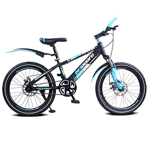 GZMUK Mountainbike Kinderfahrrad 16 Zoll (18 Zoll) Sitz Kinderrad Singlespeed Höhenverstellbar,Scheibenbremsen,Blau,18 in