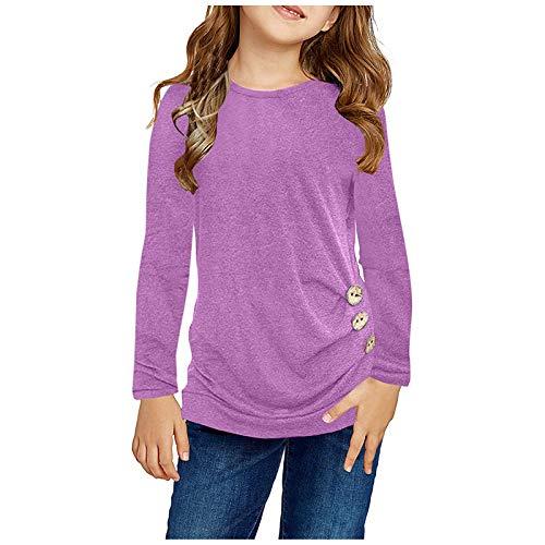 Janly Clearance Sale Blusa de manga larga para niñas de 0 a 15 años, estilo informal, con nudo frontal, para chrismas de invierno de 12 a 13 años (morado)