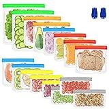 BAIYING Bolsa de Almacenamiento de Alimentos Reutilizable, 16 Pack 4 Tamaños Bolsas Congelar Reutilizables PEVA, Bolsas Silicona para Fruta, Verduras, Carne y Sándwich, Sin BPA - A Prueba de Fugas