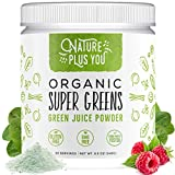 Super Greens - Organic Non-GMO Supplement, Includes Spirulina, Alfalfa, Spinach, Probiotics, Fiber and Digestive Enzymes, No Artificial Sweeteners, 30 Servings by Nature Plus You