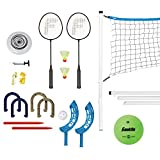 Franklin Sports Yard Games Combo Set - Volleyball/Badminton Net, 2 Player Badminton Set, Volleyball, Horsehoes...