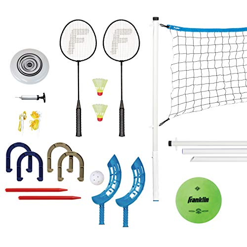 Franklin Sports Yard Games Combo Set - Volleyball/Badminton Net, 2 Player Badminton Set, Volleyball, Horsehoes Set, Flying Disc, Flip Toss