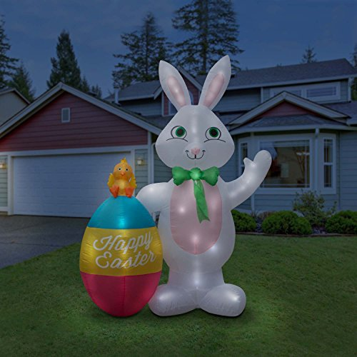 Holidayana Giant 8 Foot Inflatable Easter Bunny and Egg Duo Airblown Lawn Decoration Featuring Lighted Interior with Built-in Fan and Anchor Ropes