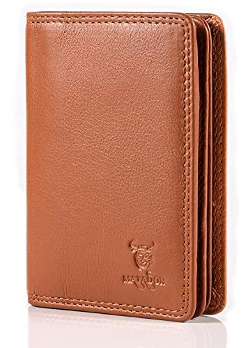 MATADOR Ausweistasche Leder Herren TüV geprüfter RFID NFC Schutz Kreditkartenhülle Ausweisetui Führerschein Brieftasche Zulassung Hülle (Hell Braun)