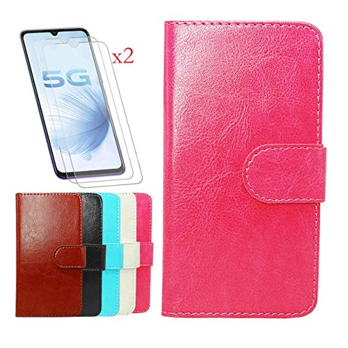 """Wallet Case for Nuu Mobile X6 Plus (6.10"""") + [2 Pack] Tempered Film Glass Screen Protector,YZKJ Flip PU Leather Case with Credit Card Slots and Stand Protective Cover - Rose"""