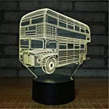 Luz Nocturna 3D Ilusión Óptica Lámpara Double Decker Bus Turístico Regalo Electrónico Led Usb Lámpara Acrílico Habitación De Los Niños Dormitorio