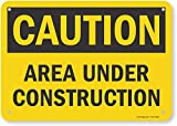 SmartSign - U9-1377-NP_7x10 'Caution - Area Under Construction' Sign | 7' x 10' Plastic Black on Yellow