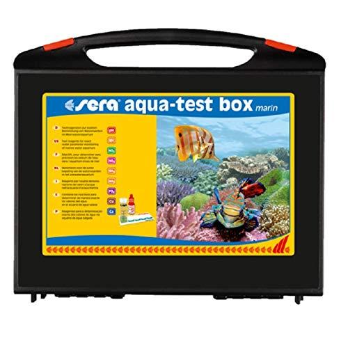 sera aqua-test box marin Testkoffer fürs Meerwasseraquarium mit 9 verschiedenen Wassertest pH, KH, NH3/NH4, NO2, NO3, PO4, Cu & Ca Meerwasser Testen für Fortgeschrittene schnell, genau, professionell