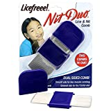 Licefreee NitDuo Lice and Nit Comb | Dual Sided Metal Lice Comb | Two Combs in One Works on All Hair Types | Head Lice Treatment Comb Removes Nits and Eggs