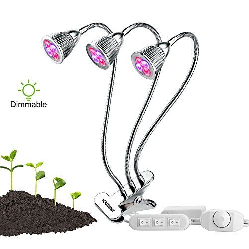 Wincal Luz de Planta LED, Lámpara de Planta LED Luz de Planta Regulable 15W 15LEDs Lámpara de Crecimiento Vegetal de 360 ° Espectro de luz Similar