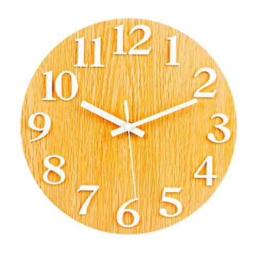 ColiCor - Reloj de pared silencioso con luces nocturnas, 30 cm, números estéreo, MDF + plástico., Grano de madera clara., 30 cm