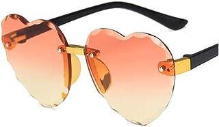 XYAN Cute Heart Rimless Frame Sunglasses Gray Pink Red Lens Fashion Boys Girls UV400 Protection Eyewear Fashion Eyewear Ac...