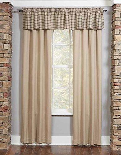 Park Designs Farmington Oatmeal Solid Color Lined Curtain Pair, 72W x 84L