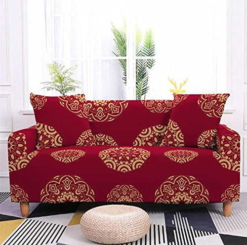Patrón de Flor roja Funda de sofá de 2 Plazas Funda Elástica para Sofá Poliéster Suave Sofá Funda sofá Antideslizante Protector Cubierta de Muebles Elástica