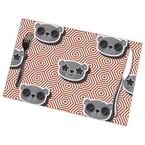 Ha99y Collezione con tovagliette Orso per Tavolo da Pranzo Set di 6 Pezzi in Poliestere Lavabile 12x18 in tovagliette tessute in Vinile Resistenti al Calore per Decorazioni per tavoli da Cucina