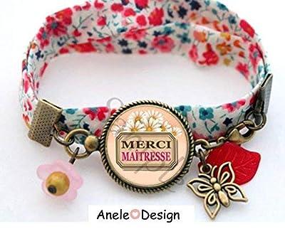Bracelet Cadeau pour la maîtresse - Merci maîtresse - rose jaune marron fleurs marguerite papillon cabochon verre perles
