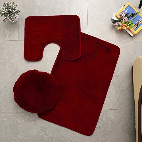 ETOPARS Einfarbiger Badteppich 3 Stück Weiche saugfähige, rutschfeste Badematte Teppiche & Toilettendeckelabdeckung Set Waschbar, Wein