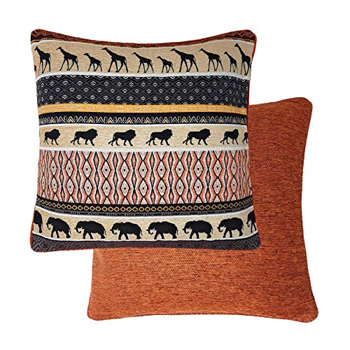 Filled African Themed Reversible Elephant Giraffe Lion Thick Rust Orange Brown Tapestry Chenille Cushion 18'