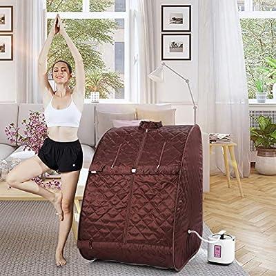 Portable Steam Sauna Spa Set, Folding Home Spa Sauna Tent, Weight Loss,Detox.with 2L Steam Pot, 9 Temperature Levels,Folding Chair,Remote Control&Big Tent
