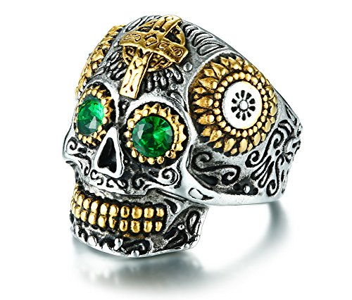 VNOX Two Tone Stainless Steel Green Eyes Crystal Skull Cross Motorcycle Vintage Rings for Men Boy,Size 9