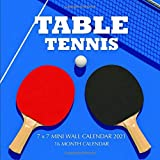 Table Tennis 7 x 7 Mini Wall Calendar 2021: 16 Month Calendar