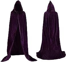 Biruil Womens Velvet Cape Cloak Hood Halloween Christmas Costume Cosplay Hooded Robe