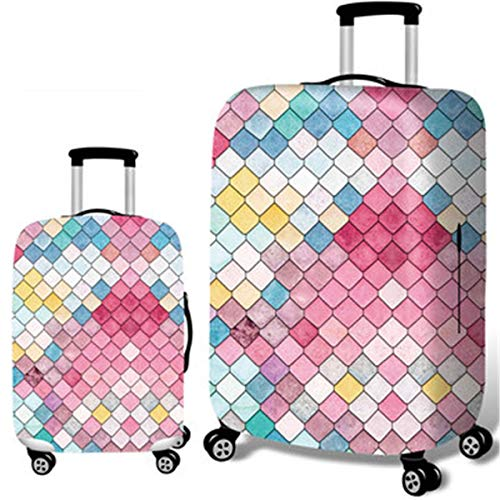 fosa1 Hand Luggage Draw bar box Mermaid Embossment Style Elastic Luggage Cover Trolley Case Cover Durable Suitcase Protector For 18-32 Inch Case Warm Travel Accessories (Size : L)