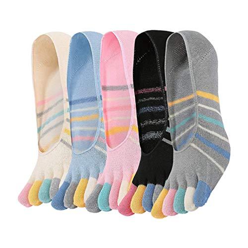 EXCEART 5 Pares Mulheres Cinco Meias de Algodão Dedo Do Pé Meias Toe Separadas Colorido Stripe Meias Invisible Low Cut Meia Para O Esporte Yoga