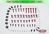 VITCIK Kit Completo de Tornillos y Pernos de Carenado para CBR 1000 RR 2004 2005 CBR 1000 RR 04 05 Clips de Sujeción en Aluminio CNC de La Motocicleta (Rojo & Plata)