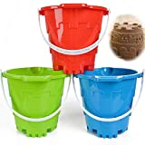 """Jumbo Castle Model Beach Gear 7"""" Large Sand Buckets Pails Beach Water Pool Gardening Bath Toy Environmentally ABS Durable Thick Plastic Complete Gift Set Bundle For Kids Boys Girls- 3 Pack Green Blue"""